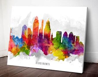 Cincinnati Skyline Canvas Print, Cincinnati Art, Cincinnati print, Cincinnati Cityscape, Home Decor, Gift Idea, USOHCI13C