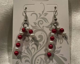 Sale! Bead candy cane earrings