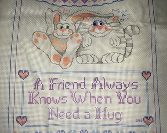 Completed  Simplicity 05516 Hug A Friend Counted Cross Stitch