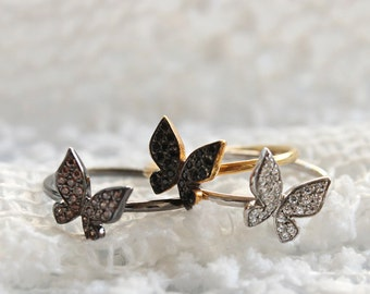 Butterfly Ring, Solid Gold Ring, Women Pinky Ring, Solid Gold Butterfly, Stack Ring, Butterfly CZ Ring, Butterfly Pinky, Butterfly jewelry
