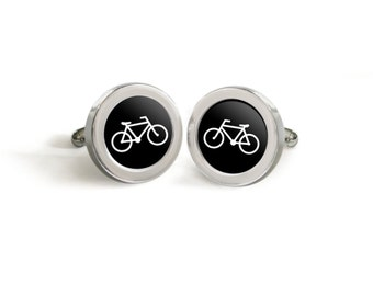 Bike Cufflinks - Vintage Style Bicycle Silhouette Tuxedo Cuff Links for Him - Custom made in your choice of color