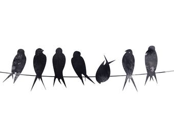 Birds on wire black and white birds on wire print