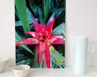 A2 Downloadable Art, Wall Art Print, Red Bromeliad Print, Printable Floral Wall Art, Instant Download, Botanical Wall Art, Gift for Women