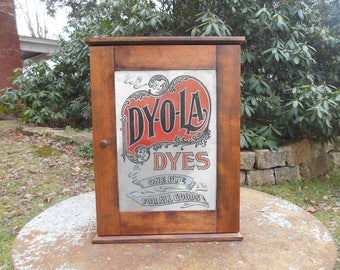 Antique Dyola Dye Cabinet Small Cupboard Display Cabinet of Curiosities Wooden Cubbies Advertising Countertop Country General Store