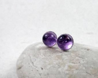 Amethyst Stud Earrings, February Birthstone Gift, Healing Gemstone, Crown Chakra, Dainty Stud Earrings, Sterling Silver, Gift for Her
