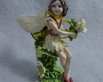 Vintage Enesco Cicely Mary Barker Wild Cherry Blossom Fairy Mini Pewter Figurine