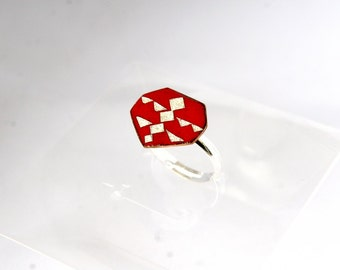 Bohemian ring, red and silver ring, Boho ring, géometric ring, red geometric ring, heptagon, red ring, for gift, made to order, for her