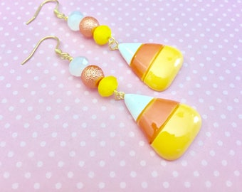 Candy Corn Long Beaded Dangle Earrings for Halloween with Surgical Steel Ear Wires