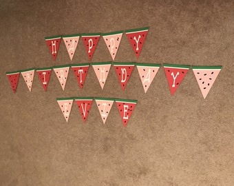 Watermelon Birthday Banner, Watermelon Party