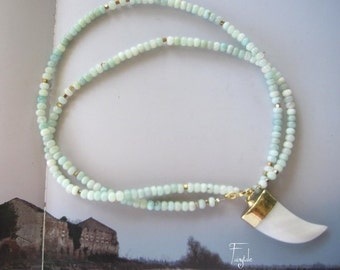 Long  amazonite  necklace with white jade horn - Rosary style - Myrtos