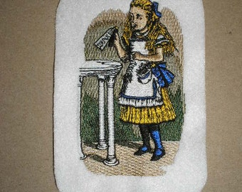 Embroidered Patch / applique - Alice & drink me bottle- Alice in Wonderland sew or glue on 3 x 4 inch ANY COLORS