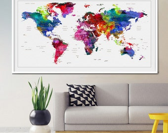 Decorative push pins, Map push pins, World map push pin, Push pin map, world map wall art, push pin world map, world map poster, art (L22)