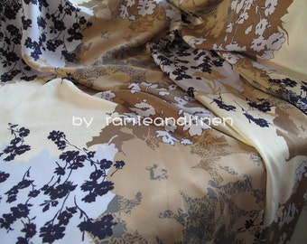 """silk fabric, double georgette mulberry silk fabric, floral print, dress fabric, scarf fabric, half yard by 52"""" wide"""