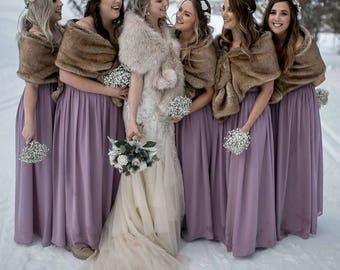 Pink Blush / Light Brown faux fur bridal wrap, Wedding Fur shrug, Fur Wrap, Bridal Faux FurStoleFur Shawl Cape (Lilian Blu02)
