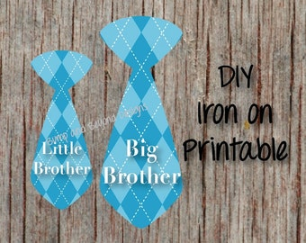 Big Brother Little Brother Sibling Ties set of 2 Tie TShirt Iron on Transfer Decals Printable Toddler Baby Shirt Brother INSTANT DOWNLOAD 04