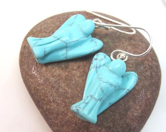Angel earrings - turquoise angel earrings - howlite angel earrings - stone earrings - new age earrings - sterling silver ear hooks