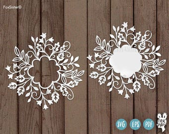 Floral round Monogram Frame/Wreath | SVG / PDF Papercut Template | for hand / machine cutting | for Cricut, Cameo | Home Decor | cut file