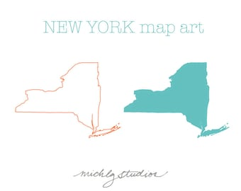 VECTOR & PNG New York map digital clip art, state, country, silhouette