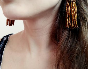 bohemian earrings amber tassel earrings brown tassel earrings Oscar de La Renta short tassel earrings statement earrings dangle earrings