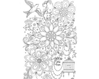 coloring page - Catch Me - instant download, hand drawn artwork, colouring pages, coloring books, flower, birds, romantiv, Fleurdoodles