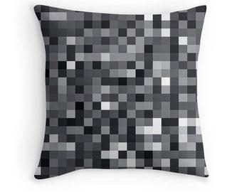 Black Pixelated Pillow, Mosaic Pillow, Black White Pillow, Gray Pillow Case, Black White Bedding, Black White Bedding, Abstract Black Pillow