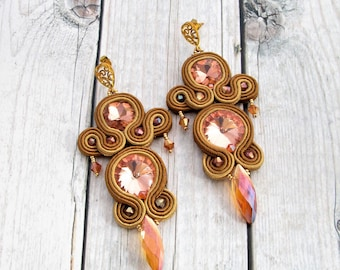 brown soutache earrings, statement jewelry, soutache jewelry, handmade dangle earrings, ethnic earrings, made in italy, chandelier earrings