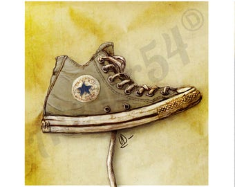 Converse. Print limited edition print of original drawing. Christmas gift