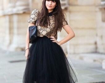 Black Tulle Skirt Bridesmaid Flower Girl Skirt Wedding Dress Tutu Ballet