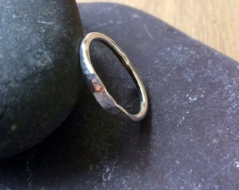 Silver part hammered ring