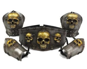 Larp Armor, Fantasy, Ominous Skull Set, ogre, orc, hero belt, skull armor, cosplay armor