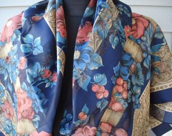 SALE Vintage Large Scarf Shawl Blue Floral Silky Sheer Stripes Flowers