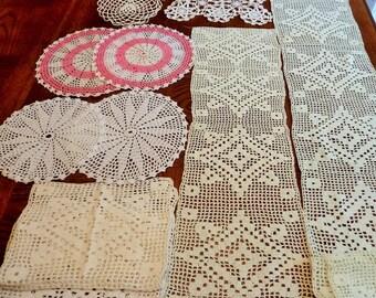22 Crochet Doilies, 1960's Vintage Trims, Embellishments Bulk Lot for Repurpose