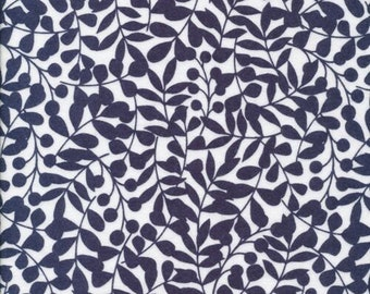 GOTS Organic cotton fabric 2 Yards flannel - Cloud 9 - Navy Branch - first light collection