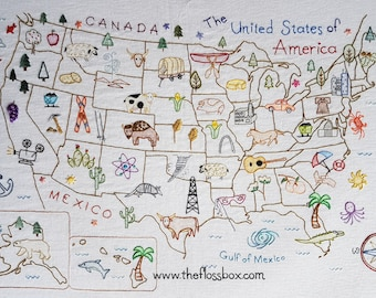 USA Map Pattern on Fabric