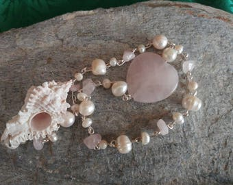 Lacey Conch Shell Pearl and Rose Quartz Heart Dowsing Pendulum