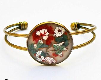 Adjustable bracelet brass red white flower polymer clay, unique piece handmade