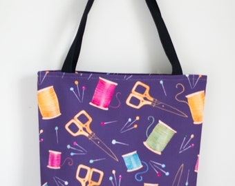 Sewing supplies Tote Bag 13x13, 16x16, or 18x18   Sewing  