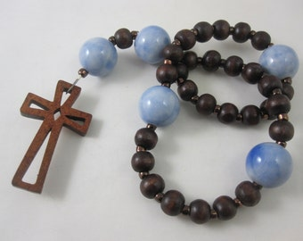 Light Blue Porcelain and Wood Prayer Beads