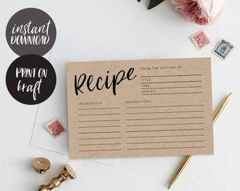 Recipe cards printable, INSTANT DOWNLOAD, Printable Recipe Card, Bridal Shower Recipe Card, DIY Recipe Cards, Rustic Recipe Cards - Alba