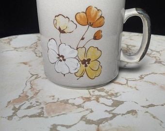 Vintage Blooming Flowers Stoneware Mug from the 1970s