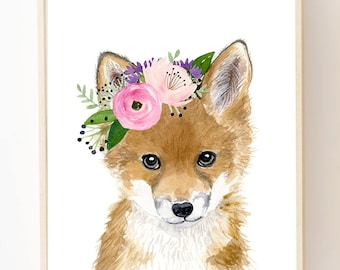 Floral baby fox, Watercolor fox, Woodland Nursery Art, Animal art, Fox cub, Animal Wall Art, Childrens Wall Decor, Kids poster, fox painting