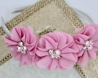 Dust pink headband, mauve flower girl headband, dust pink toddler headband, mauve flower headband, mauve wedding headband dust pink