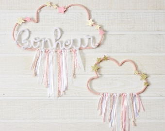 2 clouds in knitting and Ribbon