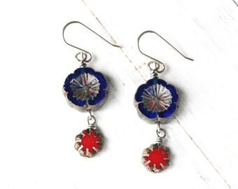 Blue flower earrings, Blue and Red earrings, blue Czech glass flower, boho style earrings, blue pansy earrings, red pansy earrings