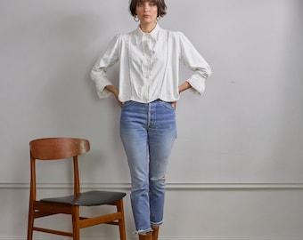 White cotton & linen VTG lace shirt dress