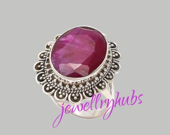 Ruby Ring, Ruby Stone Ring, Ruby Silver Ring, Gemstone Ring, Handmade Ring, Bohemian Ring, Gypsy Ring, Women Gift Ring, R22RB