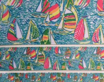 "Lilly inspired sailboats Gotta Regatta grosgrain ribbon 7/8"" 1.5"" 3"""