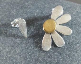 Mix Match Earrings, Daisy Earrings, Sterling Silver, Post Earrings, Handmade, Spring Jewelry, Cute Earrings, Flower Earrings, Flower Jewelry