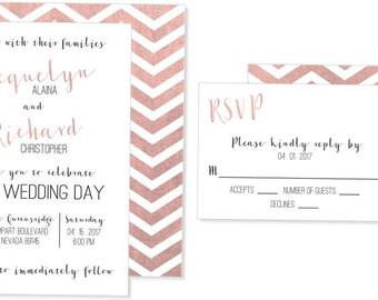 Simplicity Chevron Wedding Invitation   Digital Wedding Invitation   DIY   Printable Wedding Invitation