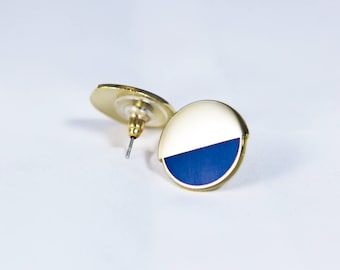 Half Moon Cobalt Gold Stud Earrings // Jewelry // Cobalt Blue